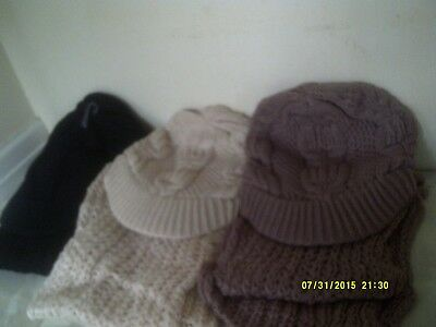 ladies hat and scarve set in 3 colours