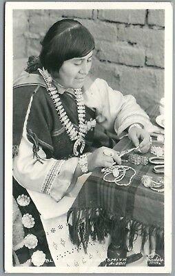 Pueblo Lady Silversmith - Frasher's A-5011 RPPC Real Photo Postcard