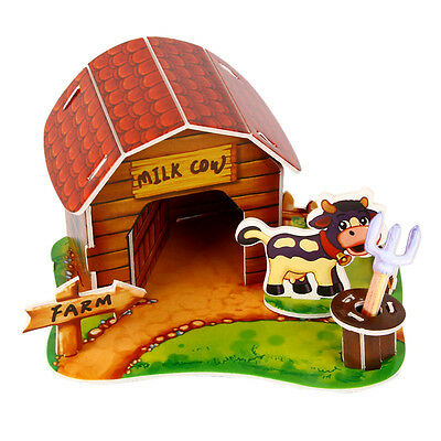 3D Paper Puzzle DIY CarW5on Pet Animal House Jigsaw Kids Educational Toy Pop W5