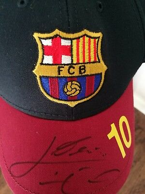 Lionel Messi Signed Barcelona Cap Shirt Argentina In Person Genuine Airport