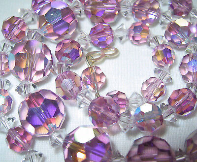 Beautiful Vintage 1950's Lilac Ab Aurora Austrian Crystal Glass Beads Necklace