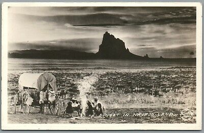 Sunset in Navajo Land - Covered Wagon - Frasher's RPPC Real Photo Postcard