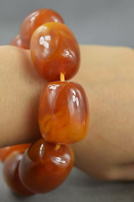 Exquisite Collectable Handwork Burnish Amber Carving Texture Bead Lucky Bracelet