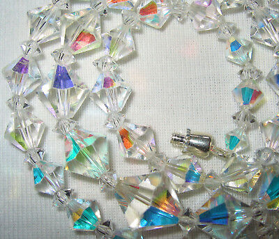 V Pretty Vintage 1950's /60's Ab Austrian Crystal Glass Bicone Beads Necklace