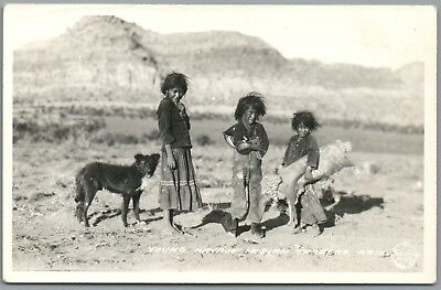 Young Navajo Indian Traders Arizona AZ Children - Frasher's RPPC Postcard