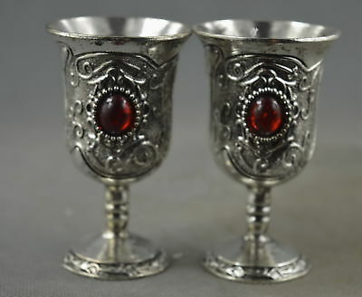Collectable Handwork Old Miao Silver Carving Beauty Flower Inlay Agate Wine Cup