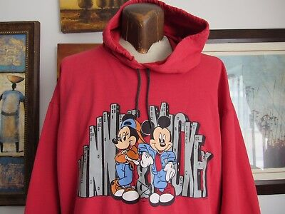 Disney Mickey Mouse and Minnie Large Hoodie Urban Buildings Vintage Red Blemish