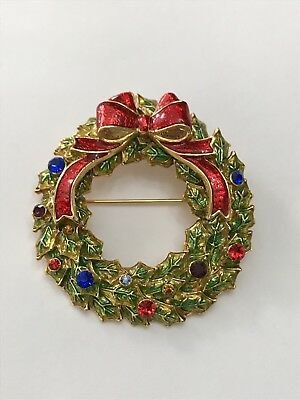 Christopher Radko Signed Pin Brooch Christmas Wreath Rhinestone Enamel Gold Tone