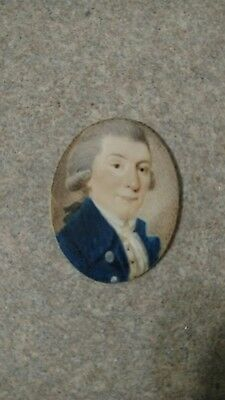 Antique Miniature Portrait Gentleman with wig, English or American, c. 1790