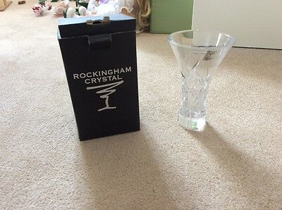 New boxed Rockingham Crystal small handcut vase