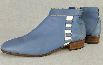 Varese Modelli Italy Mens 43 Blue Leather Ankle Boots Zip-Up Vintage 60s 70s