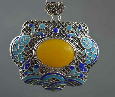 Collectable Handwork Miao Silver Carve Colorful Goldfish Inlay Agate Pendant