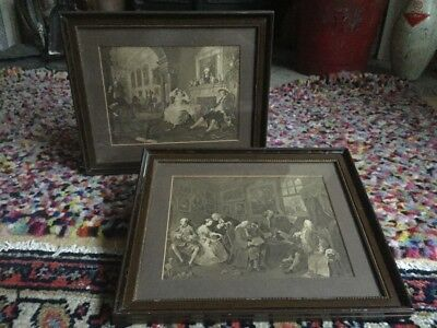 Pair antique victorian lithograph prints by Hare and sons Stamford Nelson Dawson