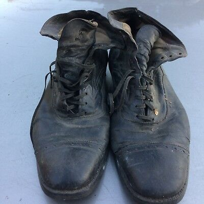 True Vintage 1930s Greyhound Men's Raged Out Leather Railroad Motorcycle Boots