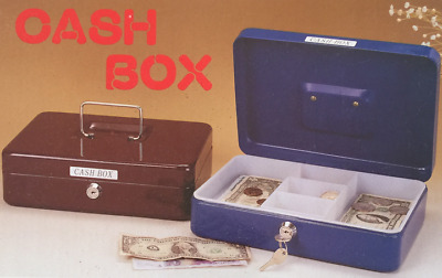 "Durable Metal Cash Box with handle 9.9""Wide x 7.2""Deep x 3""(H) Colors vary."