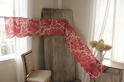 Antique French Toile de Rouen  Joseph ~ valance hand stitched c1810-1820 red old