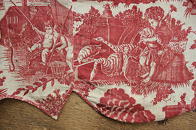 Antique French 18th century red toile de Nantes fabric c1785 bed valance