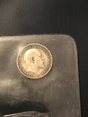 1905 Edward vii Silver Three Pence 3d .925 silver clear date