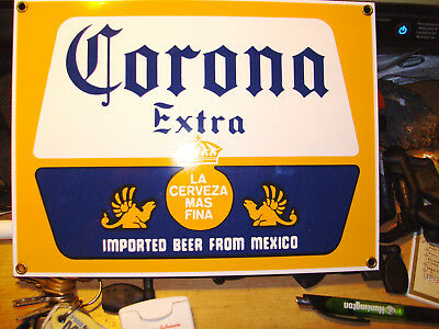 corona extra imported beer from mexico heavy metal sign  great condition