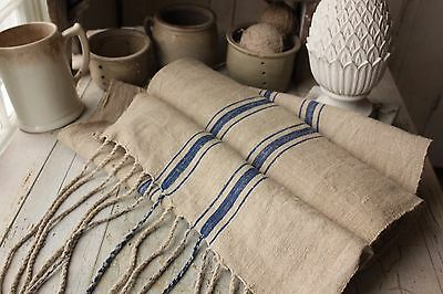 Vintage homespun grain sack fabric hemp 8.5  yds Blue stripe organic material