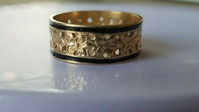 14K Gold Stamped Hawaiian Heirloom Plumeria Flower Band with Black Enamel