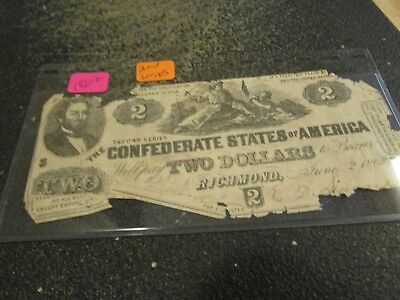 1862     Two Dollar   Confederate States Of America   Note  Second   Series