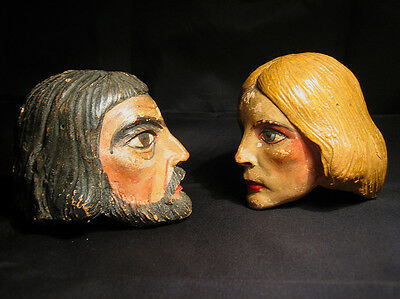 Two rare antique large doll heads man & woman from the Czech Republic puppets