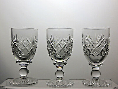 """TUDOR CRYSTAL """"Knyghton Imperial"""" PATTERN SHERRY GLASSES SET OF 3"""