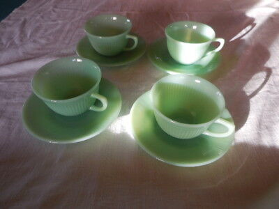 Set of 4 + 1 cup Vintage Fire King Jadite Cups and Saucers, Jane Ray Pattern
