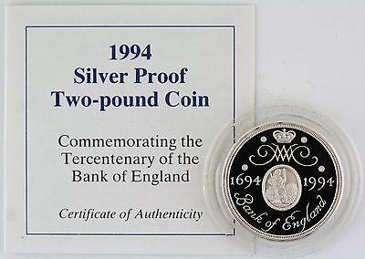 1994 Tercentenary Bank of England Silver Proof £2 coin, screw capsule, with COA