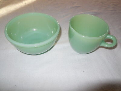 "Vintage Fire King Jadeite 4.5"" x 2.5 Bowl and Cup"