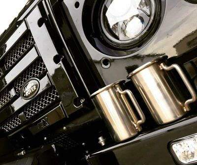 """LAND ROVER DEFENDER 90 110 3"""" Rolled Tip Stainless Exhaust Mug Cup"""