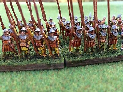 15Mm Medieval Pikemen/infantry Fully Painted Free Shipping In Us!!