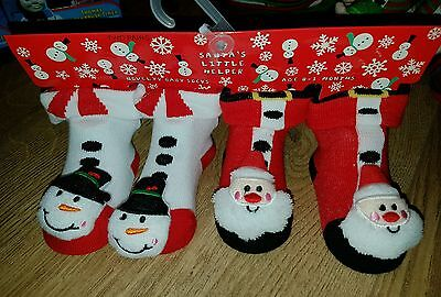 x2 Pairs Novelty Baby Socks with bell 0-3 mths Santa's Little Helper UNISEX