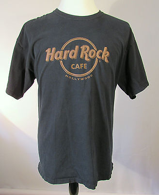 Hard Rock Café Hollywood Black Cotton T-Shirt Size Xl