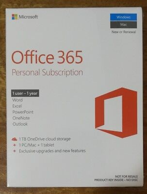 NEW Microsoft Office 365 Personal 2016 1yr Subscription