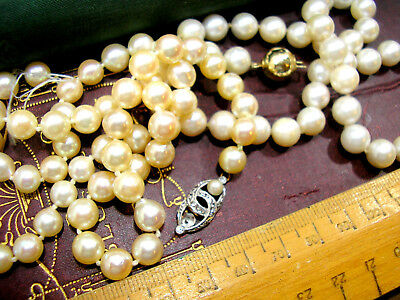 Vintage Real Cultured Pearl Necklaces for Restringing Gold Clasps 7-8mms