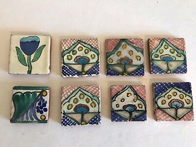 "Lot of 8 Vintage Mexico TALAVERA Tile 2"" Square handpainted"
