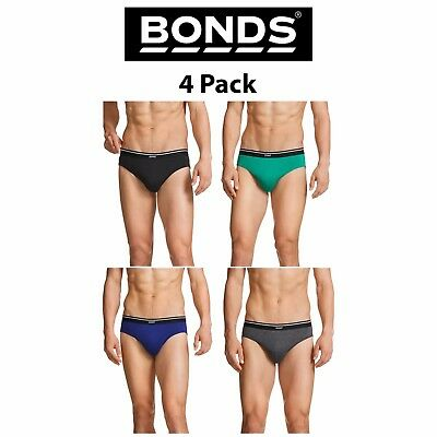 Mens Bonds Basic Everyday New Hipster Brief 4 Pack Work Trend Play Cotton M38DM4