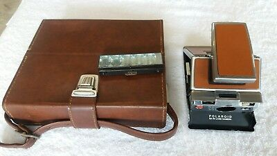 Vintage Polaroid SX-70 Leather & Chrome Instant Camera With Leather Case