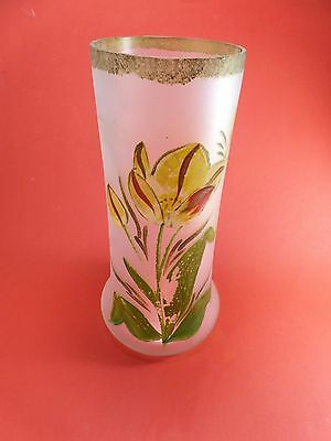 VASE GLASS pattern hand painted 1900 pattern slightly deleted