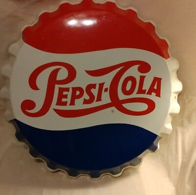 "Vintage Pepsi Bottle Cap Sign 19"" Embossed Metal Stout Single dot ""no reserve"""
