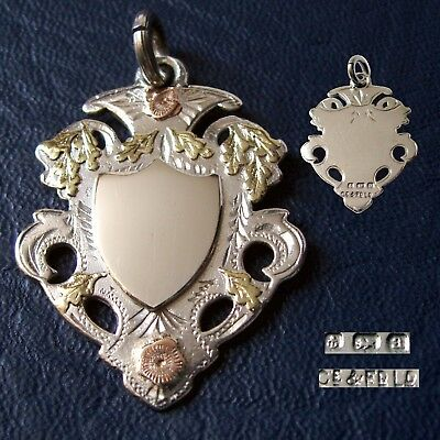 1900 Antique Victorian solid silver fob medal for a pocket watch chain / pendant