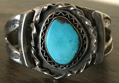NICE! Old Pawn Native American Cuff Bracelet Sterling Silver & Turquoise