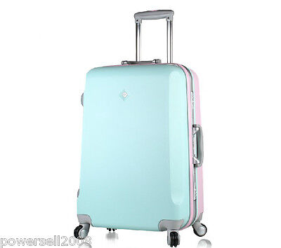New 28 Inch Fashion Front Blue+Back Pink Traveling Universal Wheel Suitcase