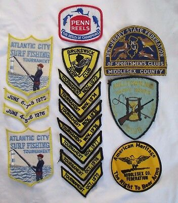 Lot of 16 Sportsman Fishing Patches Atlantic City Middlesex County Milltown Penn