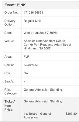 Pink 1 X General Admission Standing ADELAIDE