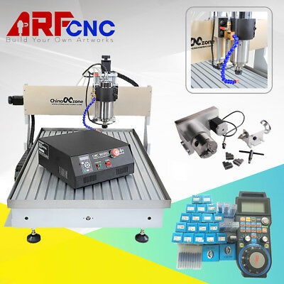 USB CNC 6090 2.2KW 4Axis Hobby Desktop CNC Mini Machine & Water Cooling System