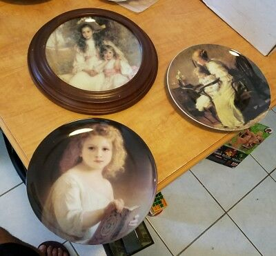 "Plate Lot Victorian Girls 8"" Set of 3 Fancy Dresses Reading THT Designs"