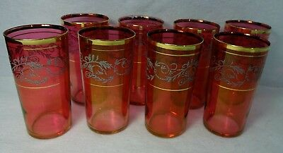 "RUBY CRANBERRY HOLIDAY pattern 5-1/4"" Flat Tumbler 12 oz. SET OF EIGHT"